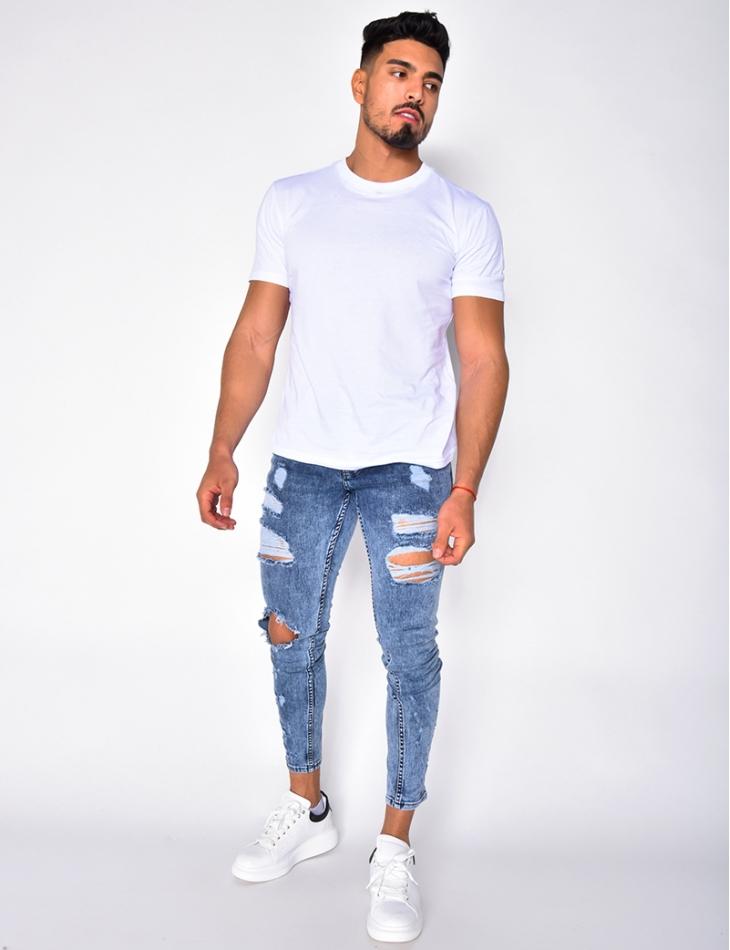 Jeans destroy délavé