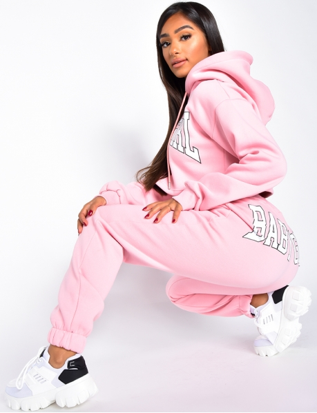 """Baby Girl"" Sweatshirt with Hood and Jogging Bottoms Set"