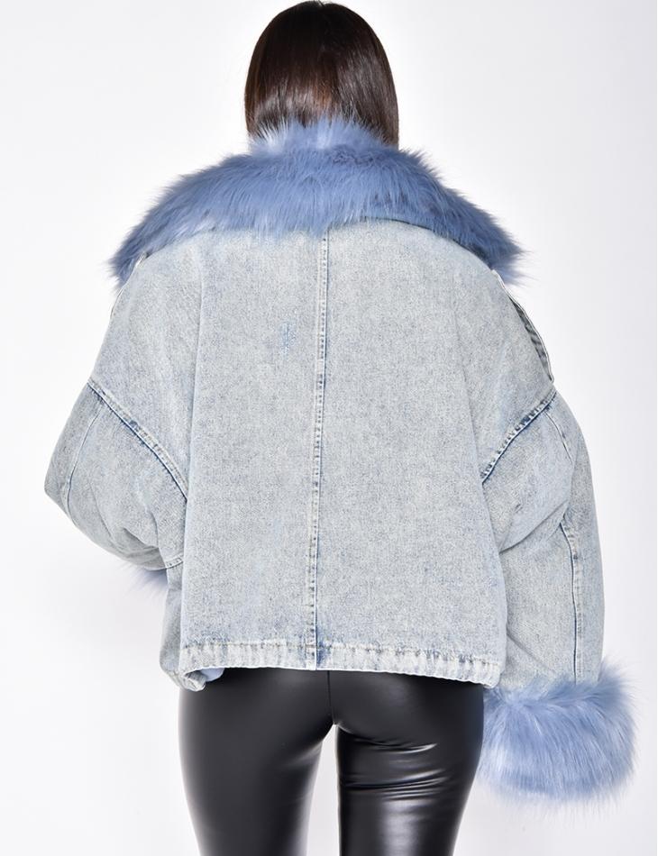 Veste en jeans à col en fausse fourrure