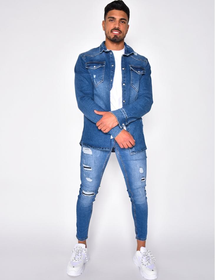 Chemise en jeans destroy