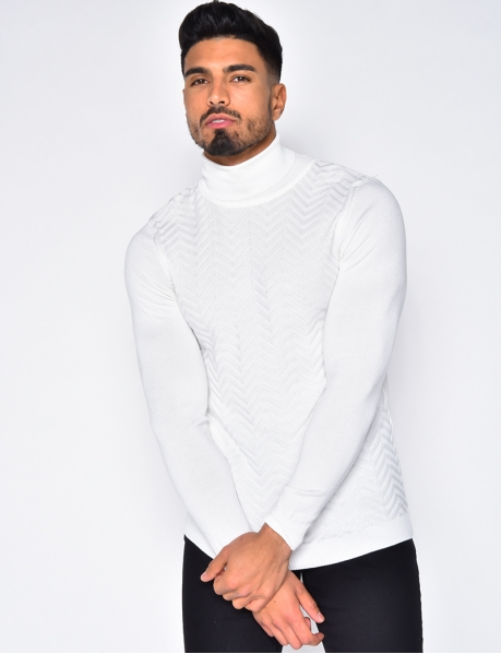 Textured Polo Neck Jumper