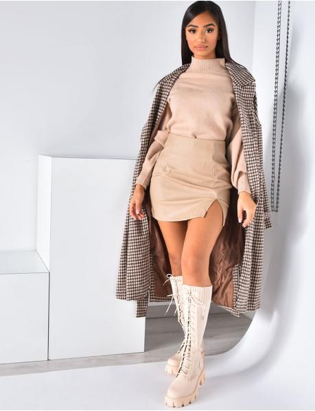 Mantel Oversize mit Hahnentrittmuster