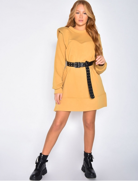 Sweatshirt Dress with Shoulder Pads