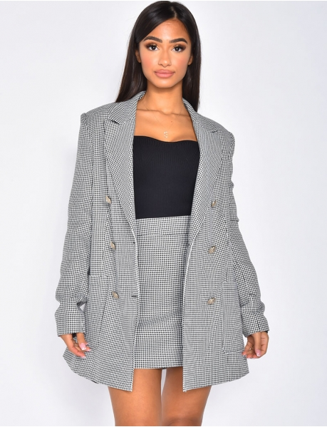 Mid-Length Houndstooth Blazer with Officer Buttons