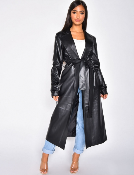 Faux Leather Tie Coat