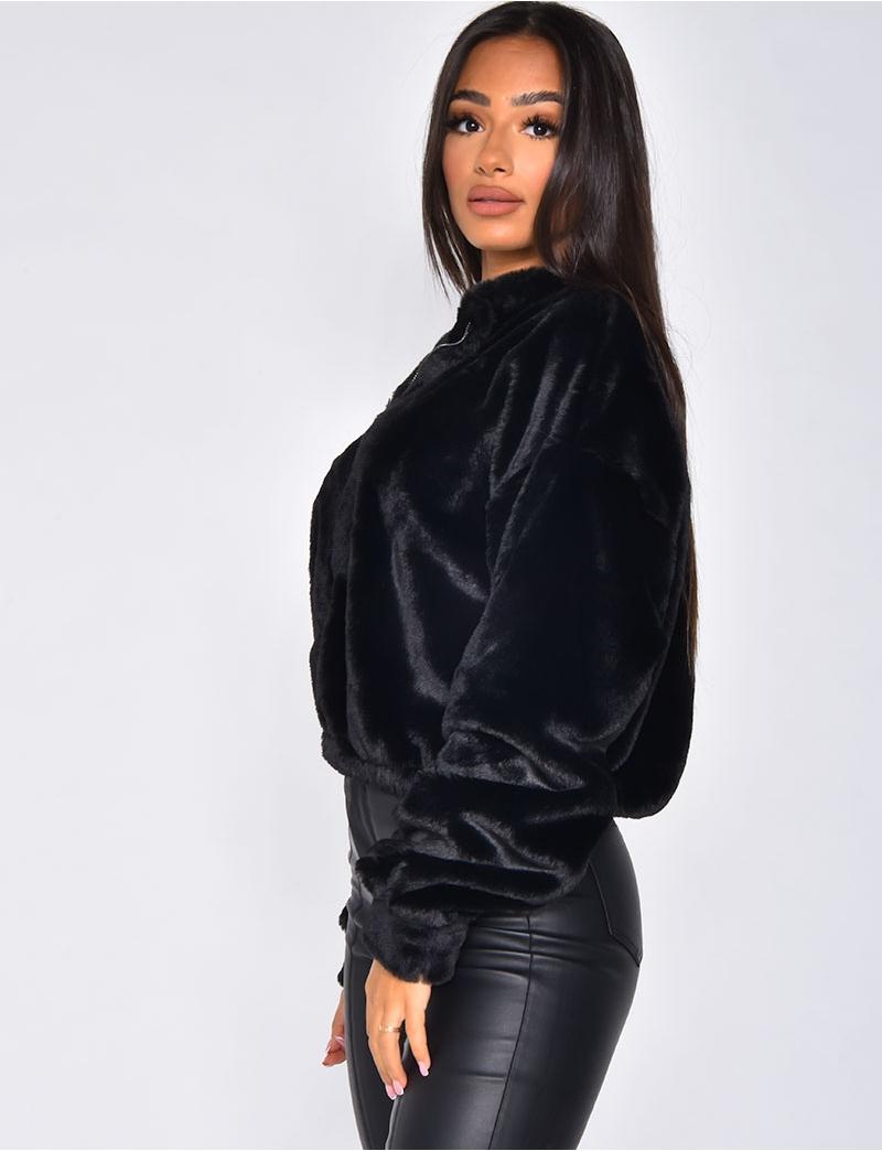 Kurzes Sweatshirt aus Kunstpelz mit Rei?verschluss - Jeans ...