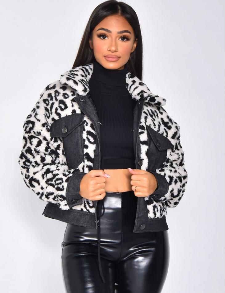 Veste effet peau de mouton à motifs léopard