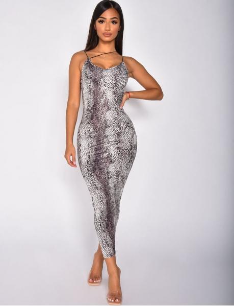Langes Kleid mit Schlangenmotiven