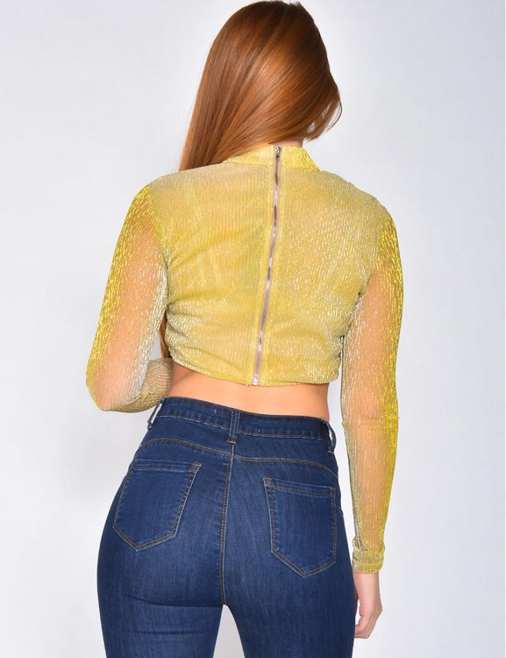 Crop top brillant manches longues à zip