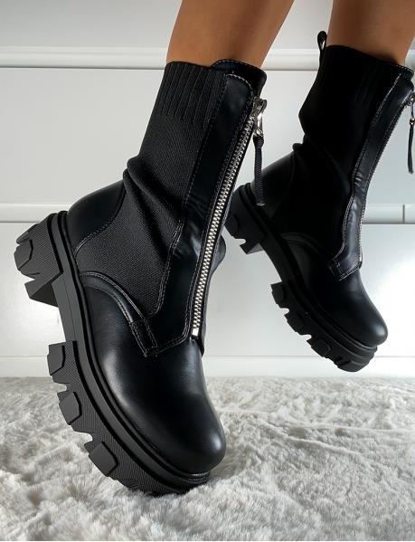 Bottines chaussettes à zip