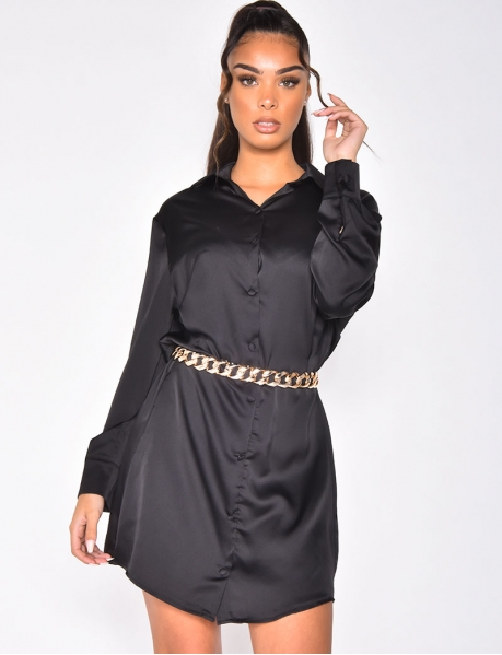 Loose-fitting Satin Shirt Dress