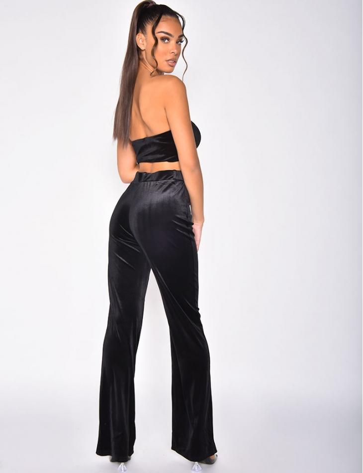 Ensemble crop top et pantalon en velours