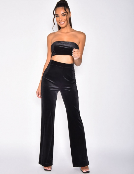 Velvet Crop Top and Trousers Co-ord