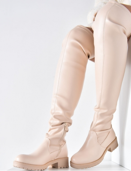 Faux Leather Nude Thigh High Boots