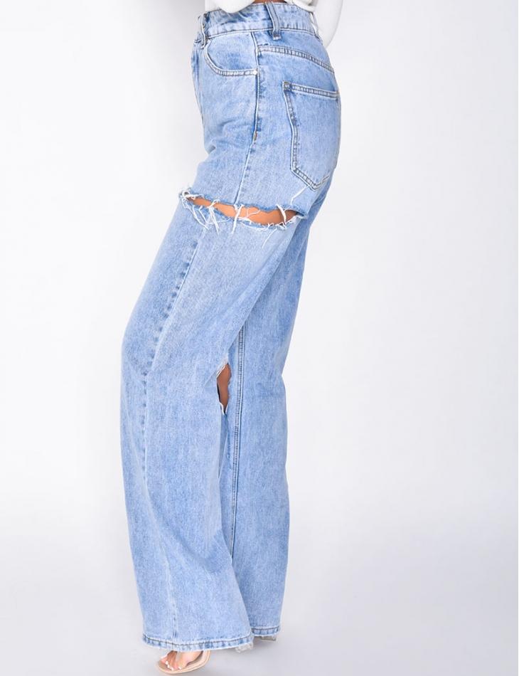 Jeans taille haute straight destroy