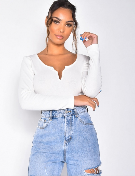 Low-Cut Ribbed Bodysuit with Long Sleeves