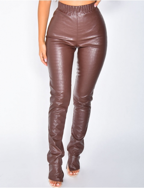 Snakeskin-Style Trousers with Slits