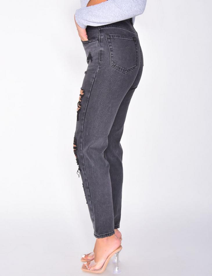 Jeans coupe droite destroy