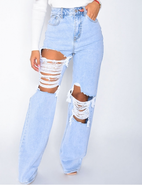 Ripped High-Waisted Straight Leg Jeans