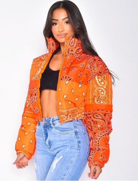 Veste courte bi-couleur à motif Ethnique