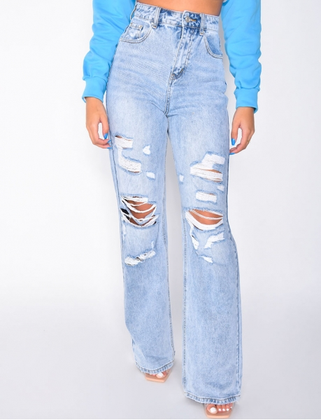 Jeans High Waist in Destroyed-Optik, straight