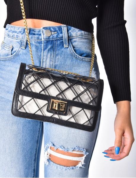 Petit sac à main à pochette transparente et ficelle