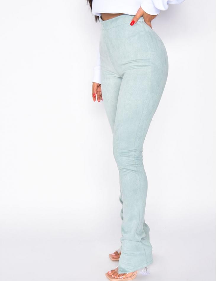 Pantalon en suédine à fentes
