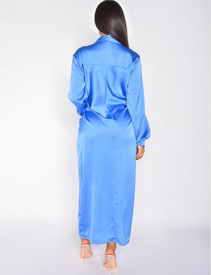 robe longue en satin froncée à la taille