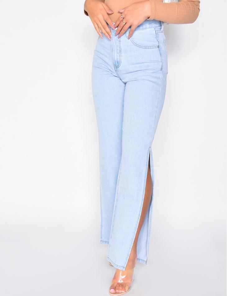 Jeans straight à fentes