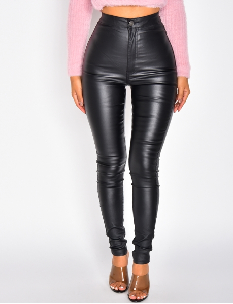 High Waisted Oil Wash Trousers
