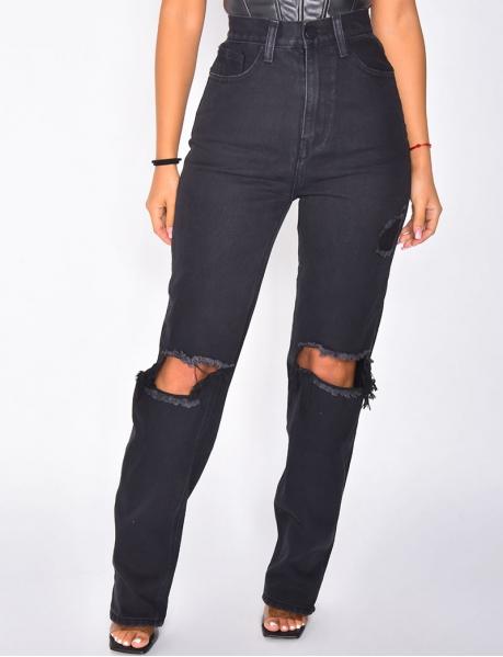Jeans High Waist in Destroyed-Optik