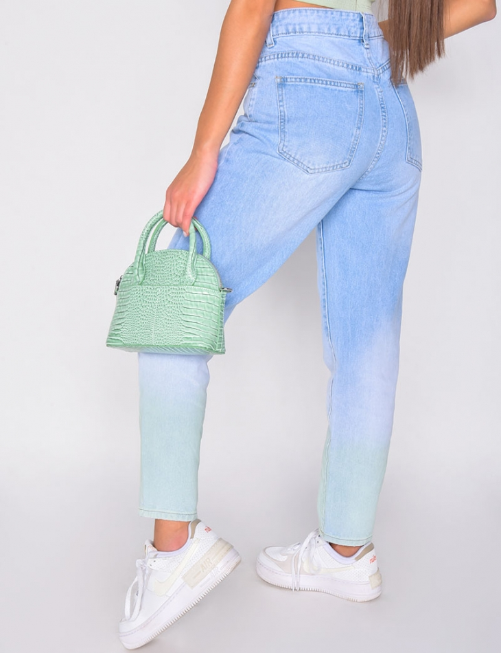 Jeans taille haute bi-color vert