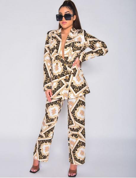 Pantalon de tailleur à motifs baroque