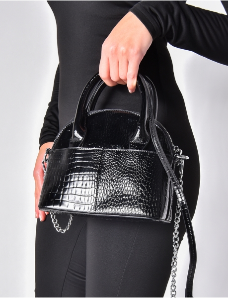 Small Faux Crocodile Skin Handbag