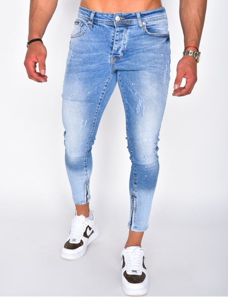 Flecked ripped jeans