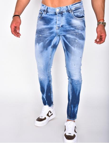 Jeans à tâches de peinture