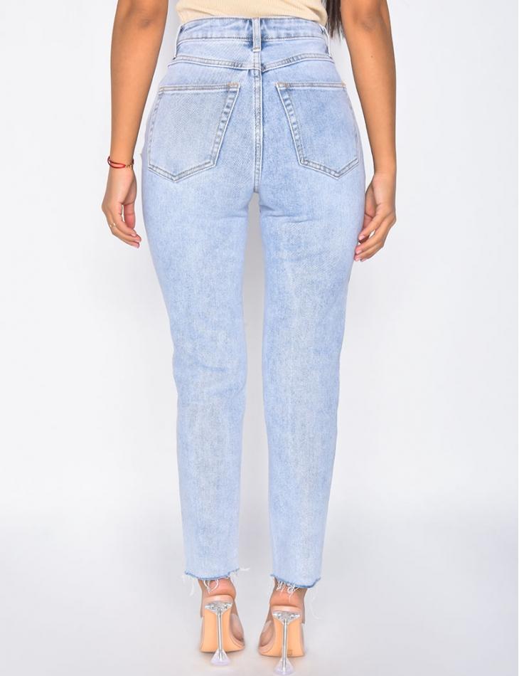 Jeans taille haute coupe droite