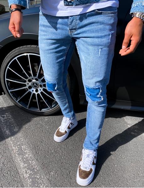 Jeans destroy à patch