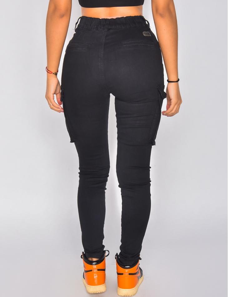 Jeans cargo taille haute