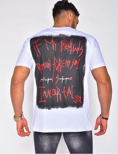 T-shirt à écritures dans le dos