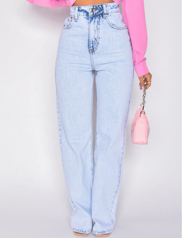 Jeans taille haute coupe large