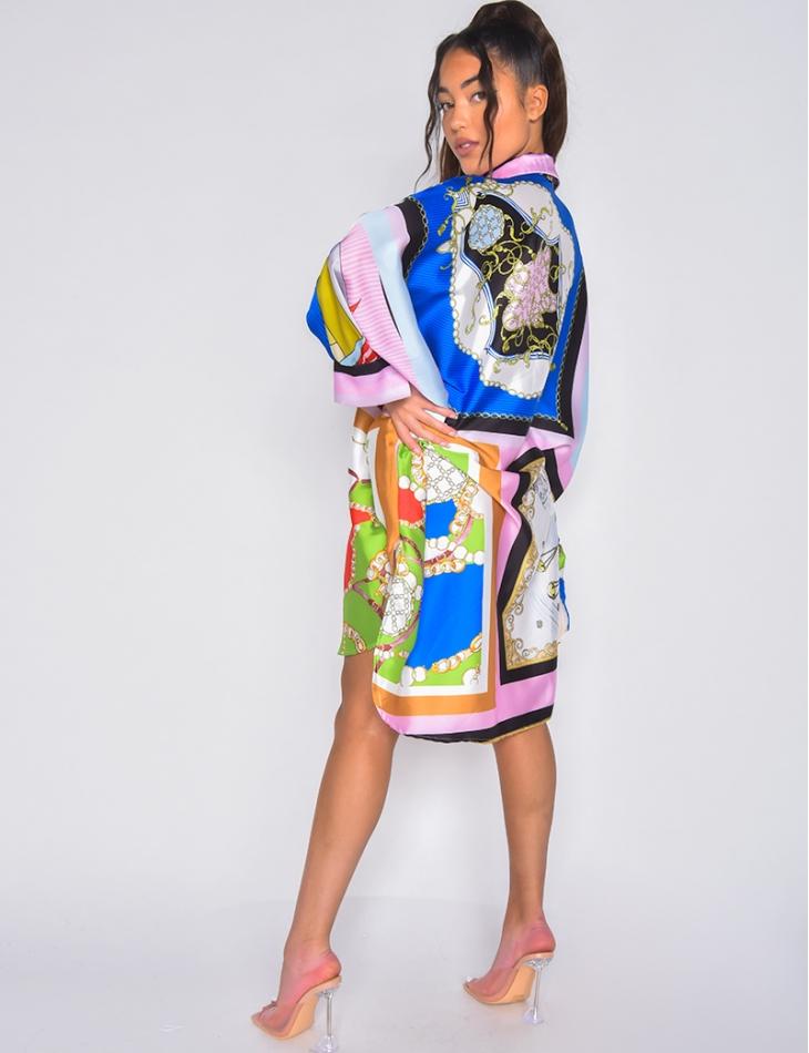 Robe chemise oversize à motif baroque
