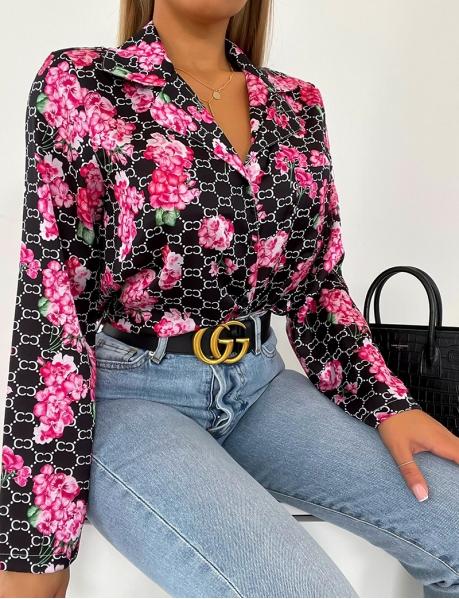 Chemise en satin à motifs fleurie