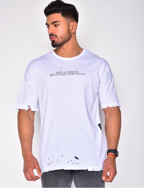 T-shirt à écriture destroy