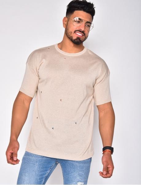 Feinstrick-T-Shirt mit kleinen Löchern