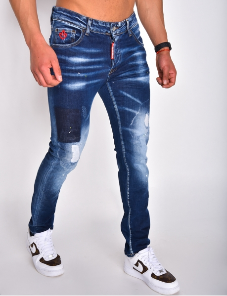 """Ripped """"ICON"""" jeans with flecks"""
