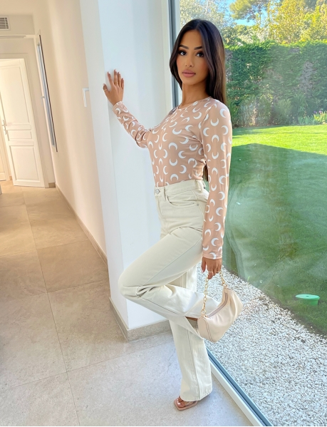 Beige Jeans with Slits