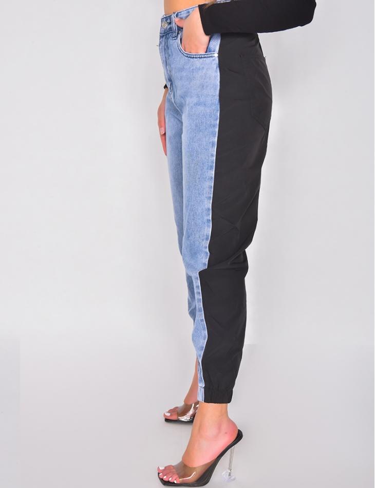 Jeans cargo bi-matière