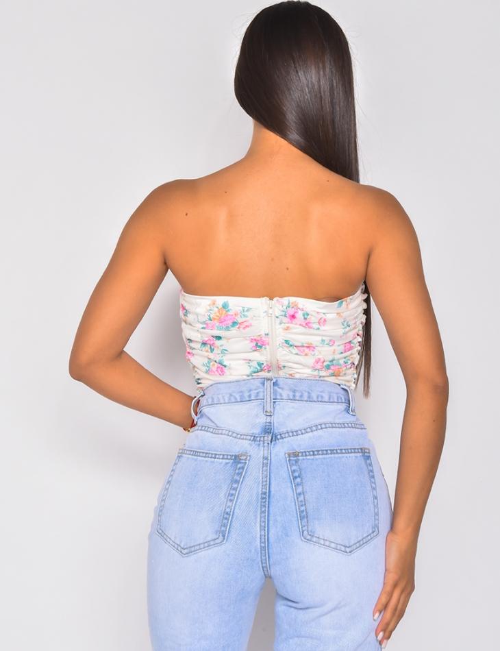 Crop-top façon corset à motifs fleuries