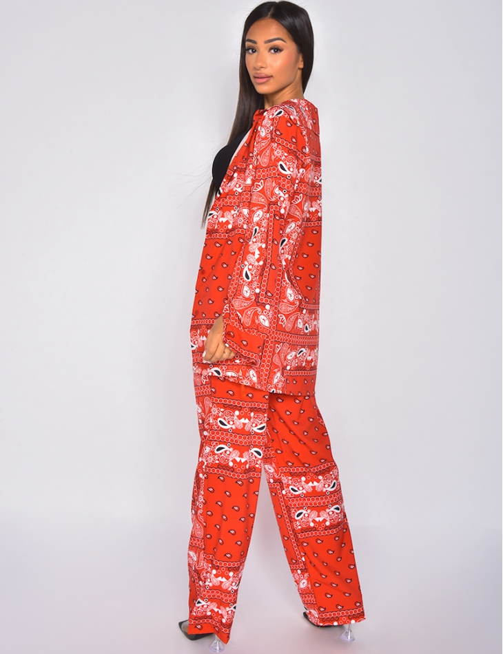 Ensemble pantalon fluide et chemise motif bandana